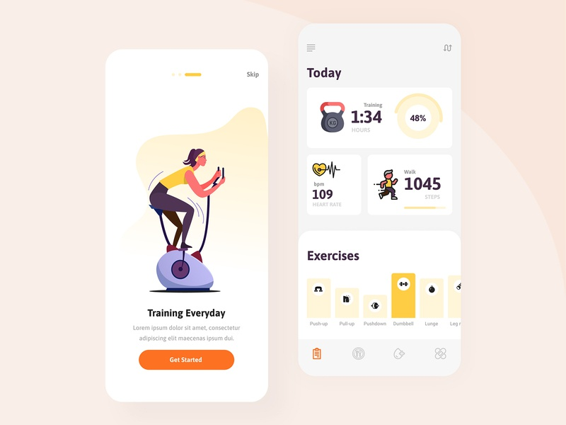 Fittary - Fitness Mobile Apps UI UX Design apps animation app design app clean design illustraion gym fitness excercise typography ux ui vector mobile app design figma branding mobile app flat mobile