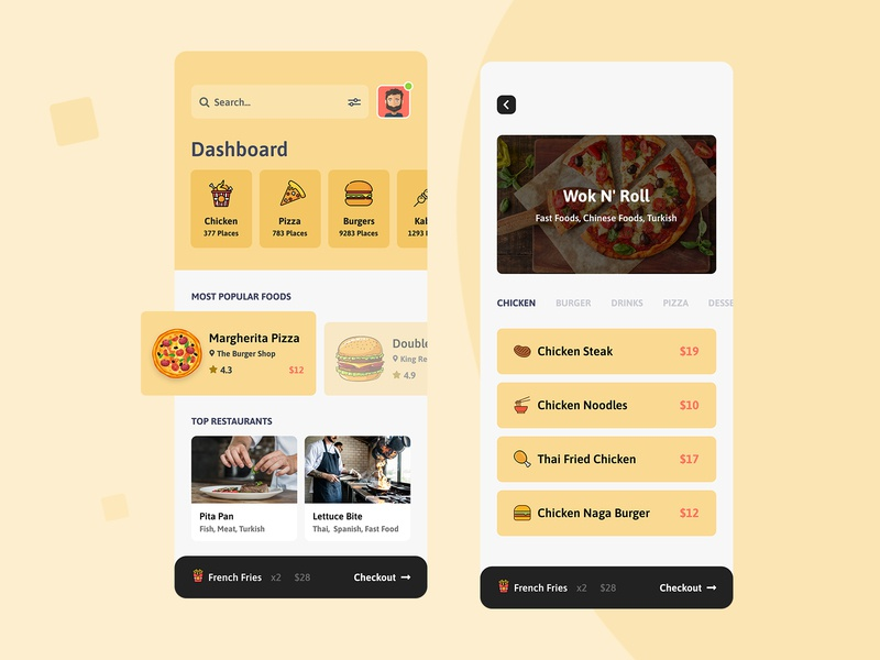 Foodla - Food Delivery App Design animation menu ios foodie food app food delivery service delivery dailyui colorful flat typography vector branding illustration design clean ux ui