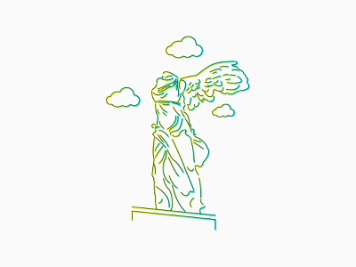Winged Victory of Samothrace linearart statue