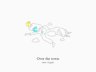 Over the town (Marc Chagall) (marc chagall) (marc chagall) illustration