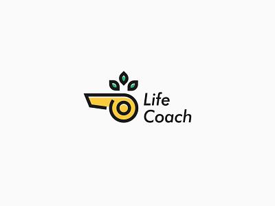 Life coach linear illustration branding vector icon logo design