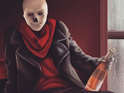 Underfell Papyrus fanart alcohol skeleton undertale realism fanart underfellpapyrus papyrus underfell