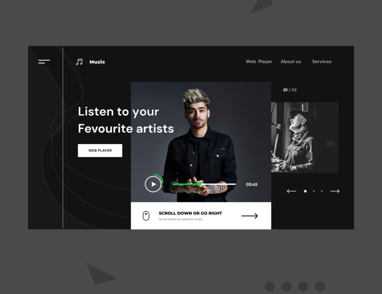 Muzic musicstreaming musician music player music appdesign landing page landingpagedesign webpagedesign social landingpage homepage uiux webdesign uidesign