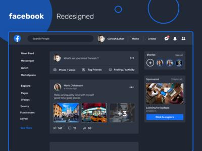 Facebook Redesigned in dark ui design ui  ux uidesign dark ui webappdesign webpagedesign webdesign dark dark mode facebookredesigned facebook