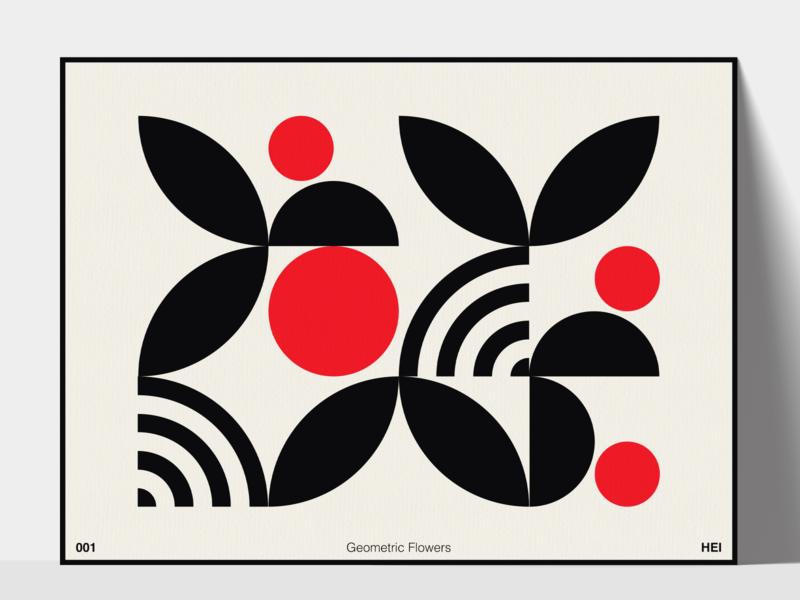 #001 Geometric Flowers bauhaus flower geometry pattern geometric