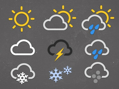 Weather Icon Set WIP weather icon sun cloud snow frost rain hail thunder