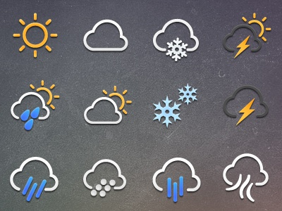 Weather Icon Set weather icon sun cloud snow frost wind rain hail thunder