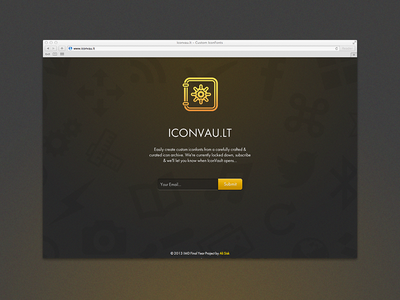 Iconvau.lt icons webfont branding sign up holding page