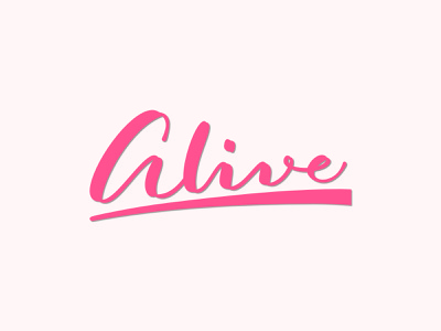 Alive script logo logotype lettering calligraphy