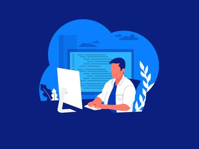Programmer Working Illustration