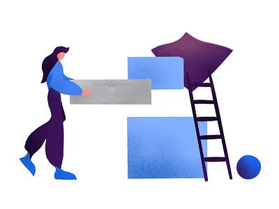 Illustration - Building blocks effect shadow vector illustration