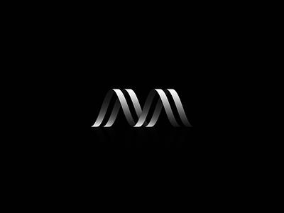M mark minimal design vector flat branding icon logo