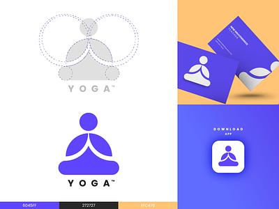 yoga logo logogrid logoawesome logodesign logomark design flat vector icon branding logo