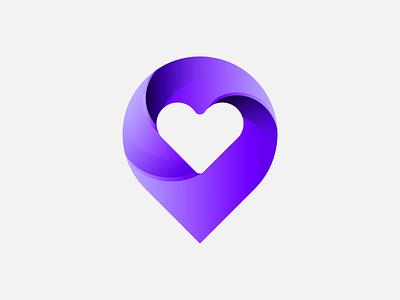 Pin+Heart location logo location love logo lovelogo logo minimalist logo