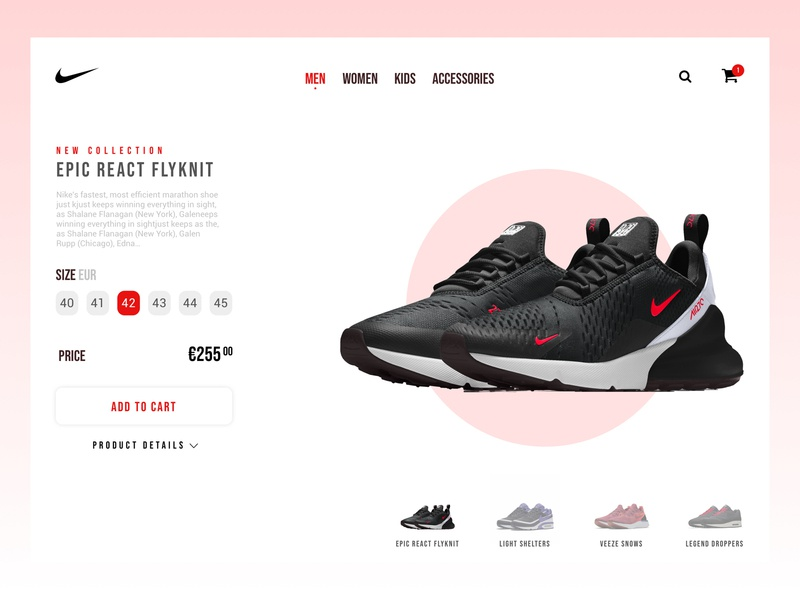 Website Redesign Concept   Nike shop price size red shoes sneakers web shopping ecommerce product nike