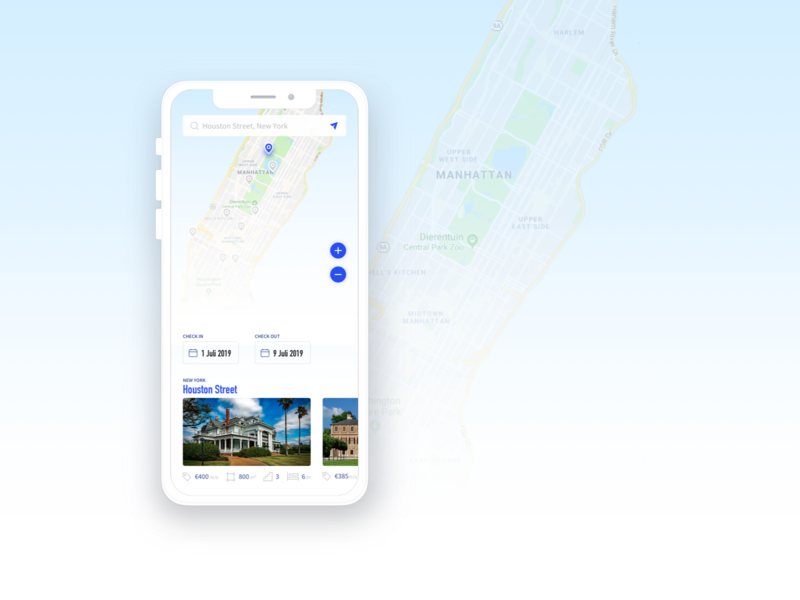 House Renting price date check out check in iphone search zoom house map ui application design