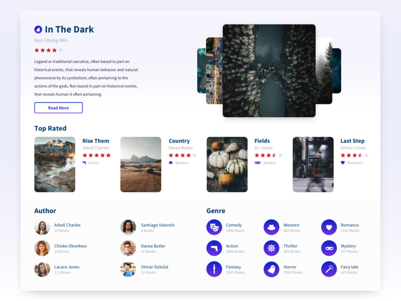 Book Store genre author read read more top rated top ui design web application ecommerce store book