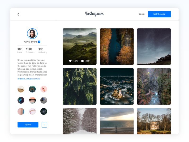 Instagram Redesign design web follow photo app login posts followers photo redesign concept redesign instagram