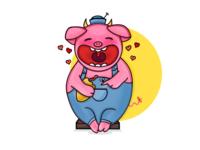 Cute, happy piggy and friends...