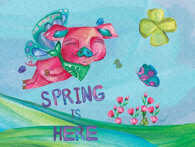 spring:) typography design charachter water color photoshop illustration