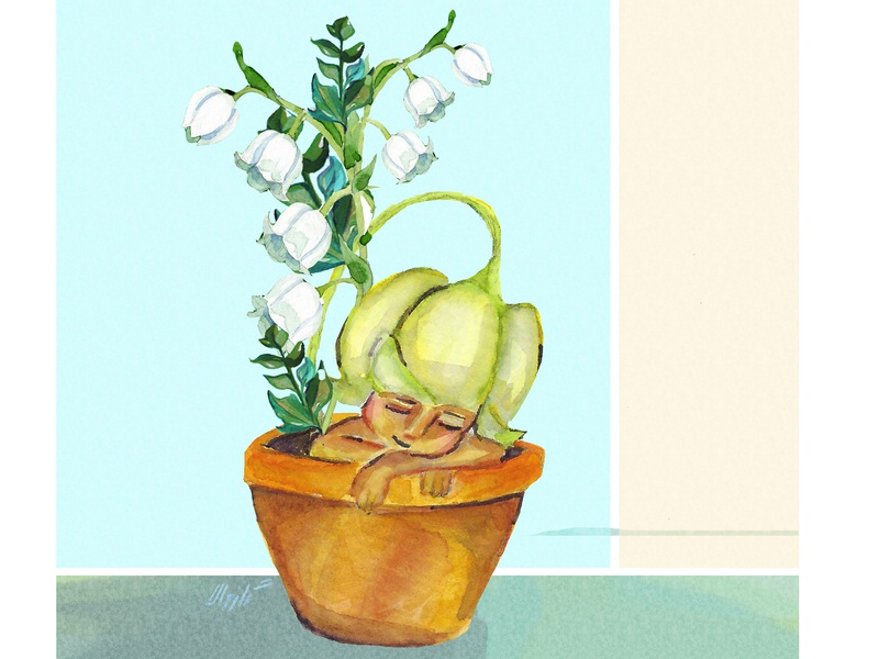 Lily of the valley flower illustration illustration art flowers flower watercolors design charachter photoshop illustration