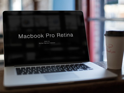 Macbook Cafe Mock-Up