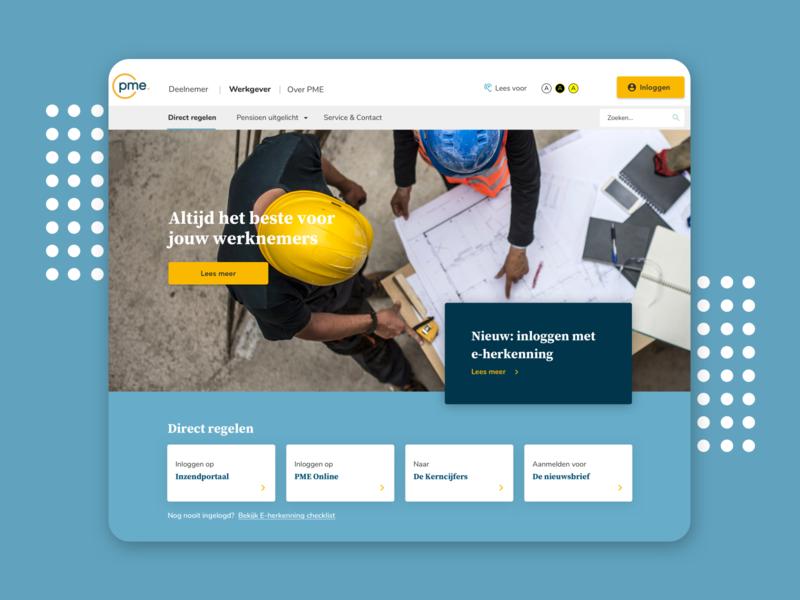 PME Pensioen website uidesign design ui branding ux homepage graphic design webdesign visual design