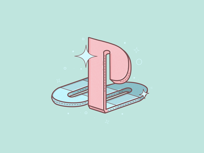 Old Playstation illustration procreate 3d sparkle pink pastel logo