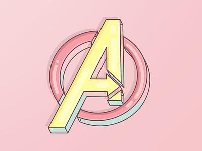 Avengers design illustration procreate 3d superhero avengers logo