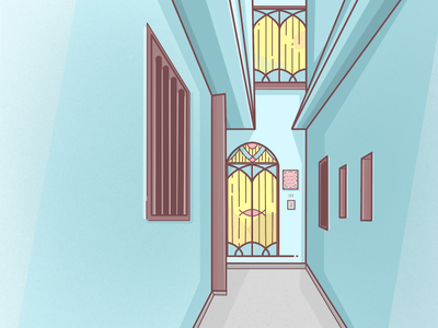 In Another Alley architecture illustration procreate pastel blue