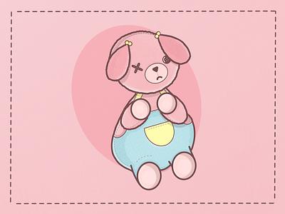 Sad and chubby bear pink cute procreate illustration
