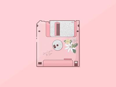 Floppy Disk design procreate flowers illustration pink