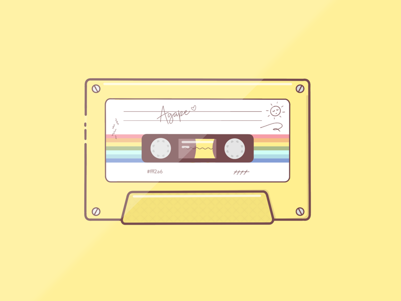 """Agape"" summer cassette design art illustration procreate yellow"