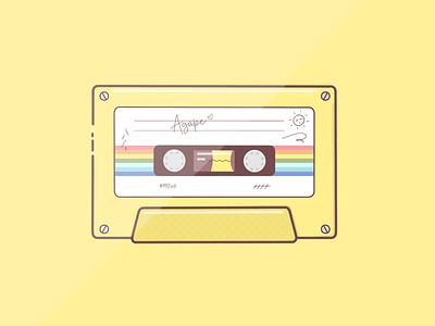 """""""Agape"""" summer cassette design art illustration procreate yellow"""
