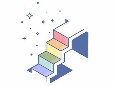 🌈Stairs🌈 art pastel vector procreate illustration rainbow