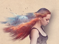 Abstract Galaxy Hair Photo Effects