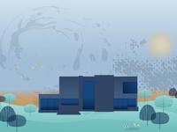 Landscape Home Vector Illustration