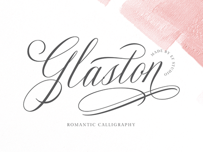 Glaston logo fonts branding font romantic calligraphy penmaship typography cursive font wedding font invitation font calligraphy font logo font exlusive design clean branding font