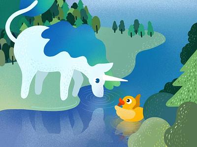 Summer forest duck unicorn summer procreate illustration