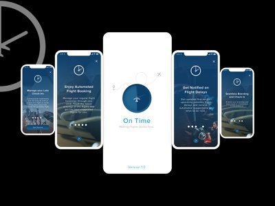 Onboarding Challenge - On Time Flights Application ( iOS ) illustration ios app logo vector design uxdesign branding app design splash page human computer interaction ui design uxui