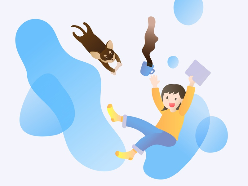 Work from home with my dog vector ui illustration