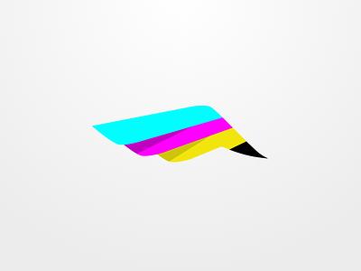 Cmyk wing sketch logo smyk