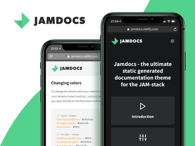 Jamdocs - A serverless documentation theme color theme theme design themes webdesign web vue ui static serverless open-source grid logo jamstack gridsome theme documentation docs darkmode