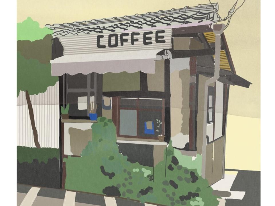 Coffee shop artwork art sketch illustration
