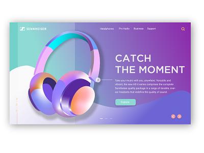 Senheiser Landing page trend invision xd gradient music landing design webdesign typography vector ui design ui  ux illustration