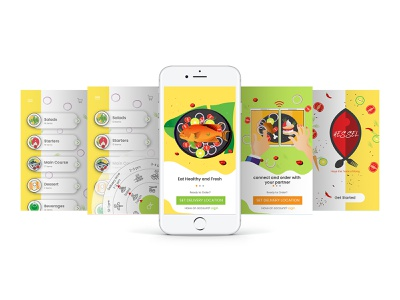 Hessel-Food app UI and Illustration mobile ui mobile food and drink food illustration ecommerce food app eat ux branding xd invision vector ui hello design ui  ux illustration