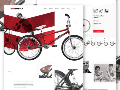 Haro Concept product website biking bike e-commerce design minimal landing web