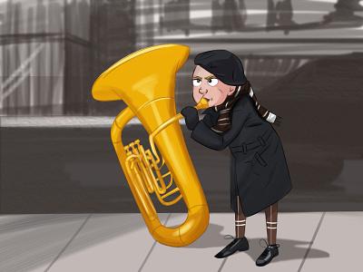 Big trumpet..............! designing music 2d design art cartooning cartoons cartoon illustration cartoon character designinspiration cartoon drawing animation painting indian india designer design artwork artist art