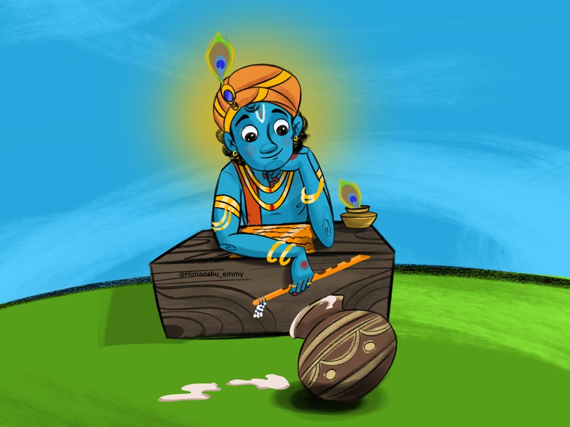 krishna illustration graphicdesign designs graphic cartoon god krishna procreateapp procreate traditional art tradition painting drawing designer artwork artist art animation indian india design