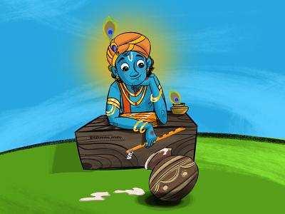 krishna illustration graphicdesign designs graphic cartoon god krishna procreateapp procreate traditional art tradition painting drawing designer artwork artist art animation indian india design